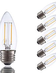 2W E26/E27 Ampoules à Filament LED B 2 COB 200 lm Blanc Chaud Gradable V 6 pièces