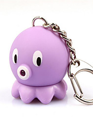 ABS-042 Small Octopus Squid Keychain LED Light Emitting Key Ring