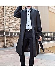 Herren Solide Einfach Lässig/Alltäglich Jacke,Winter Langarm Schwarz Mittel Polyester