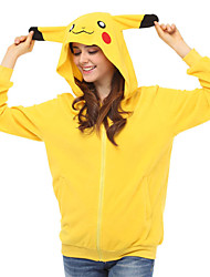 Cute Pikapika Hoodie Jacket Polar Fleece Kigurumi  Casual Top Cosplay Costume Adult Unisex