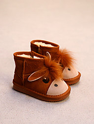 Girl's Boots Comfort Suede Casual Black Camel
