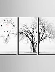 Rechteckig Modern/Zeitgenössisch Wanduhr , Anderen Leinwand 30 x 60cm(12inchx24inch)x3pcs /40 x 80cm(16inchx32inch)x3pcs