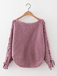 Damen Standard Pullover-Lässig/Alltäglich Einfach Solide Blau Braun Orange Lila Rundhalsausschnitt Langarm Kaschmir Polyester Herbst