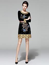 Damen Hülle Kleid-Ausgehen / Lässig/Alltäglich / Party/Cocktail Einfach / Anspruchsvoll Stickerei Rundhalsausschnitt Übers Knie Langarm
