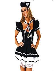 Costumes de Cosplay / Costume de Soirée Soldat/Guerrier Fête / Célébration Déguisement Halloween Blanc / Noir Imprimé Robe / Chapeau