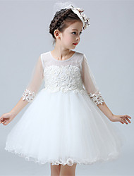 A-line Knee-length Flower Girl Dress - Cotton / Satin / Tulle Half Sleeve Jewel with Appliques