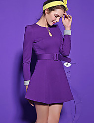 Women's Going out Simple A Line Dress,Solid Round Neck Above Knee Long Sleeve Pink / Red / Black / Purple Polyester Fall / Winter Mid Rise