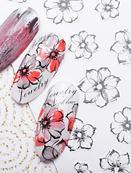 Ultrathin Ink Painting Flower 3D Nail Stickers