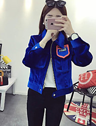 Women's Casual/Daily Simple Jackets,Solid Shirt Collar Long Sleeve Winter Blue Polyester Medium