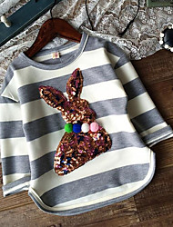 Mädchen T-Shirt-Lässig/Alltäglich Gestreift Baumwolle Frühling / Herbst Grau
