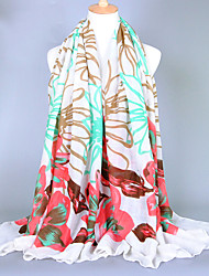 Women's Fashion Voile Flowers Print Cotton Vintage Scarf White/Pink/Khaki/Green/Black(180*100CM)