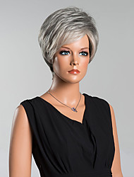Fashion Short Grey Straight Capless Wigs High Quality Human Hair
