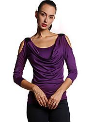 Tee-shirt Femme,Couleur Pleine Sortie / Décontracté / Quotidien simple Printemps / Automne Manches ¾ Col ArrondiBleu / Rose / Rouge /