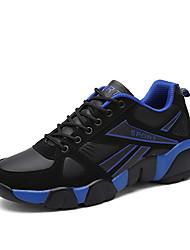 Feminino-Tênis-Conforto-Rasteiro-Azul Amarelo Preto e Vermelho Preto e Branco-Couro Ecológico-Para Esporte
