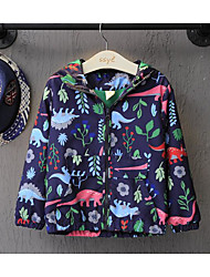 Girl's Casual/Daily Animal Print Jacket & CoatCotton Spring / Fall Blue / White