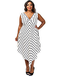 Women's Fine Stripe|Asymmetrical Plus Size Stripe Cascade Long Dress