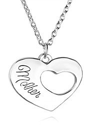 Necklace Daughter Mom Heart Pendant Necklaces Jewelry Party / Daily Unique Design Alloy Coppery 1set