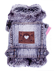 Cat Dog Denim Jacket/Jeans Jacket Dog Clothes Winter Spring/Fall Jeans Fashion Cowboy Gray