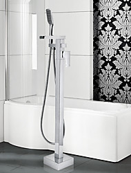 Contemporary / Art Deco/Retro / Floor Standing / Pullout Spray with  Ceramic ValveSingle Handle One
