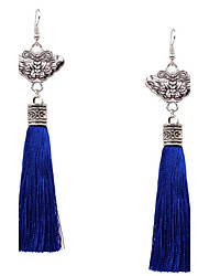 MPL Europe and the United States of Bohemia folk style long tassel Vintage Silver Butterfly Earrings