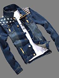 Men's Casual/Daily Vintage Denim JacketsSolid Shirt Collar Long Sleeve Spring / Winter Blue Cotton / Polyester Medium