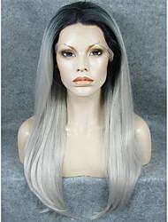 imstyle 24''natural procurando densidade pesada peruca dianteira cinza raiz renda preta sintética reta