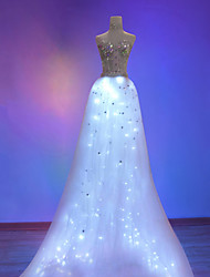 Cosplay Costume Party Dress LED Light-Up Flashing Skirt Cosplay Halloween Dress Sleeveless Patchwork/Lace Chiffon