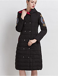 Пальто Простое Пуховик Для женщин,Однотонный На каждый день Полиэстер Пух белой утки,Длинный рукав Капюшон