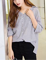 Feminino Camisa Casual Simples Verão / Outono,Listrado Azul / Preto Poliéster Colarinho de Camisa Manga Longa Média