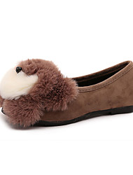 Women's Boat Shoes Fall / Winter Comfort Fleece Casual Flat Heel Animal Print Black / Brown / Gray Others