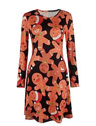 Gaine Robe Femme Sortie / Décontracté / Quotidien simple / Mignon,Imprimé Col Arrondi Au dessus du genou Manches Longues Orange Polyester