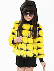 Girl's Casual/Daily Color Block Down & Cotton Padded,PU Winter / Spring / Fall Pink / Red / White / Yellow