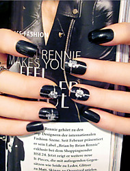 Nail Strips Short Black Fashion Punk Style   24Pcs/Set