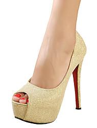 Women's Heels Spring Summer Fall Platform Glitter Wedding Dress Party & Evening Stiletto Heel Platform Sparkling Glitter Silver Gold Other