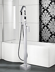 Modern Tub And Shower Waterfall / Floor Standing / Pullout Spray with  Ceramic ValveSingle Handle One
