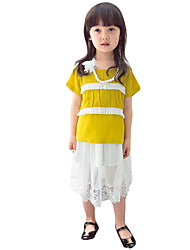 Girl's Casual/Daily Patchwork DressOthers Summer Blue / Yellow