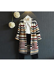 Girl's Casual/Daily Striped Sweater & CardiganAcrylic Spring / Fall White