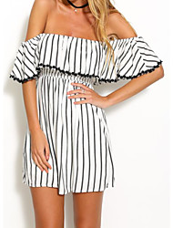 Women's Going out / Casual/Daily Sexy A Line Dress,Striped Boat Neck Above Knee Short Sleeve White Linen Fall / Winter Mid Rise