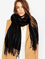 Unisex Cashmere Scarf Vintage Work Casual Rectangle Striped Double-sided shawl