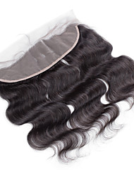 4x13 Closure Natural Color Body Wave Brazilian Human Hair Closure Free Middle 3 part Medium Brown Swiss Lace Frontal