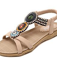 Damen-Sandalen-Lässig Kleid-PU-Flacher Absatz-Mary Jane-Schwarz Mandelfarben