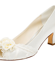 Women's Heels Spring / Fall Others Stretch Satin Wedding / Party & Evening / Dress Chunky Heel Crystal / Satin Flower Ivory Others