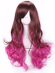 New Style Wig Fashion Brown To Pink Color Cosplay Synthetic Wig