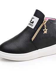 Kids Girl's Casual Shoes Spring / Fall / Winter Comfort / First Walkers Leather Outdoor / Leathe Boots / Casual Low Heel Zippers Black / Red / Walking