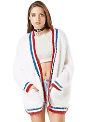 Women's Vintage / Simple Long CardiganStriped White V Neck Long Sleeve Cashmere / Faux Fur Fall / Winter