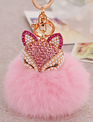 Diamond Fox Head Rabbit Fur Ball Alloy Key Ring Fashion Bags Ornaments