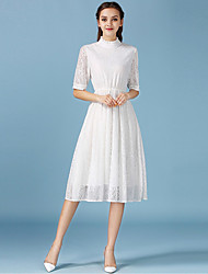 1287 Women's Going out / Casual/Daily Simple A Line / Lace DressSolid Crew Neck Midi  Length Sleeve White Cotton