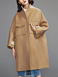 Damen Solide Einfach Lässig/Alltäglich Mantel,Herbst / Winter Ständer Langarm Beige Mittel Wolle
