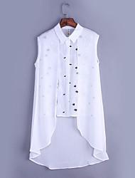 Women's Print White Shirt,Shirt Collar Sleeveless