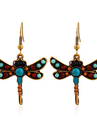2016 Newest Colorful Lovely Dragonfly With Crystal Alloy Drop Hook Earring For Women